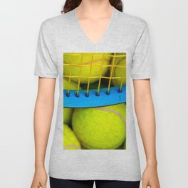 Yellow Tennis Balls And A Blue Racket Unisex V-Neck