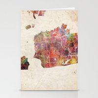 san francisco Stationery Cards featuring San Francisco map by MapMapMaps.Watercolors