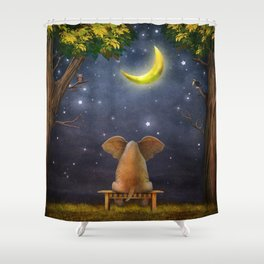Illustration of a elephant on a bench in the night forest  Shower Curtain