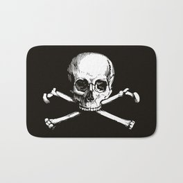 Skull and Crossbones | Jolly Roger | Pirate Flag | Black and White | Bath Mat
