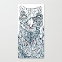 snow leopard Canvas Prints featuring snow leopard by Eric Tiedt