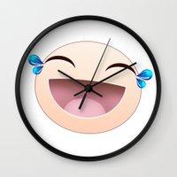 sticker Wall Clocks featuring SMILEY STICKER by ADAMLAWLESS