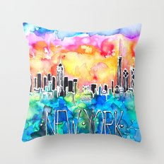 New York / watercolor mixed media bright city skyline modern skyscraper Throw Pillow
