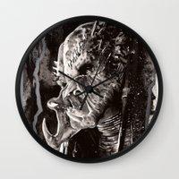 predator Wall Clocks featuring Predator by Stephanie Nuzzolilo