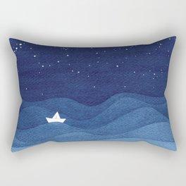 blue ocean waves, sailboat ocean stars Rectangular Pillow