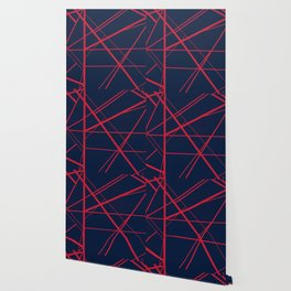 Crossroads - Navy and Red Wallpaper