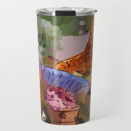 Animals in the Garden: The giraffe, hippo, and hedgehog Travel Mug