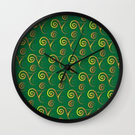 Mardi Gra Lace Rainbow on Kelly Green Wall Clock