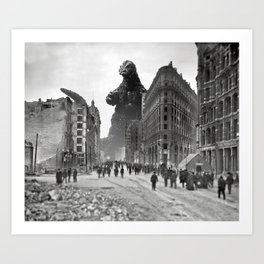Old Time Godzilla in San Francisco Art Print