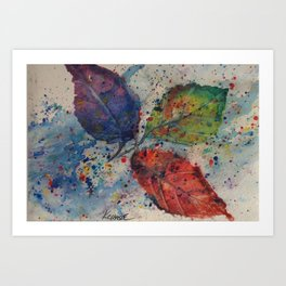 Traveling Leaves - Fall Autumn Maine Watercolor Print Art Print