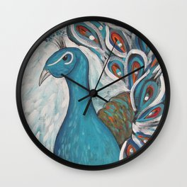Blue Peacock with Blue Wall Clock