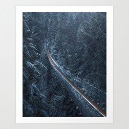Moody Winter Bridge Art Print