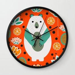 Bear in a floral spring garden Wall Clock