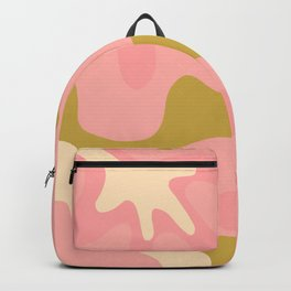 Groovy Flowers Retro Abstract in Pink and Gold Backpack