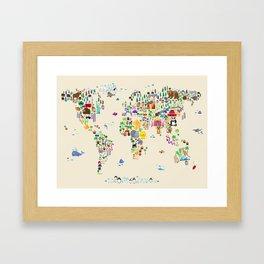 Animal Map of the World Framed Art Print