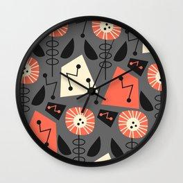 Mid-century modern flowers Wall Clock
