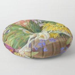 Medley of Wild Summer Mountain Flowers still life painting Floor Pillow