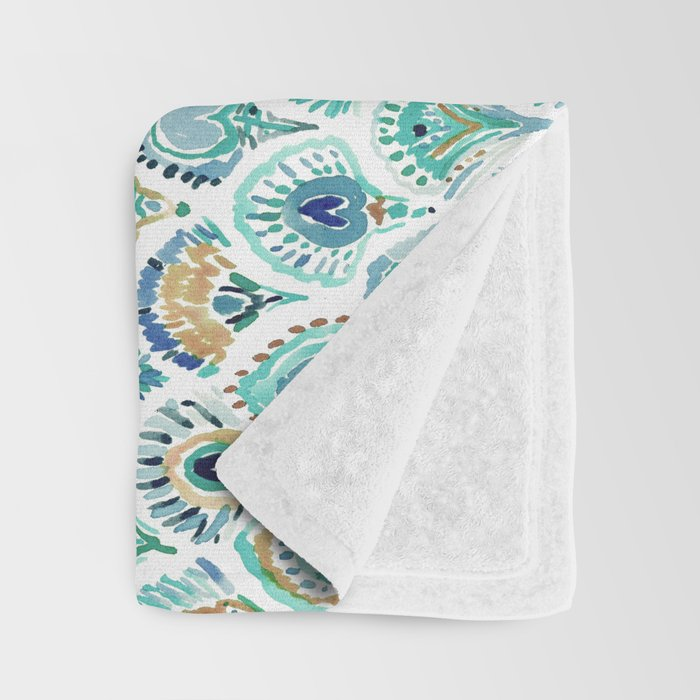 PEACOCK MERMAID Nautical Scales and Feathers Throw Blanket