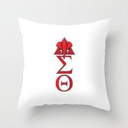 Elephant Delta Triangle Sigma Red Theta Throw Pillow
