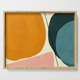 shapes geometric minimal painting abstract Serving Tray