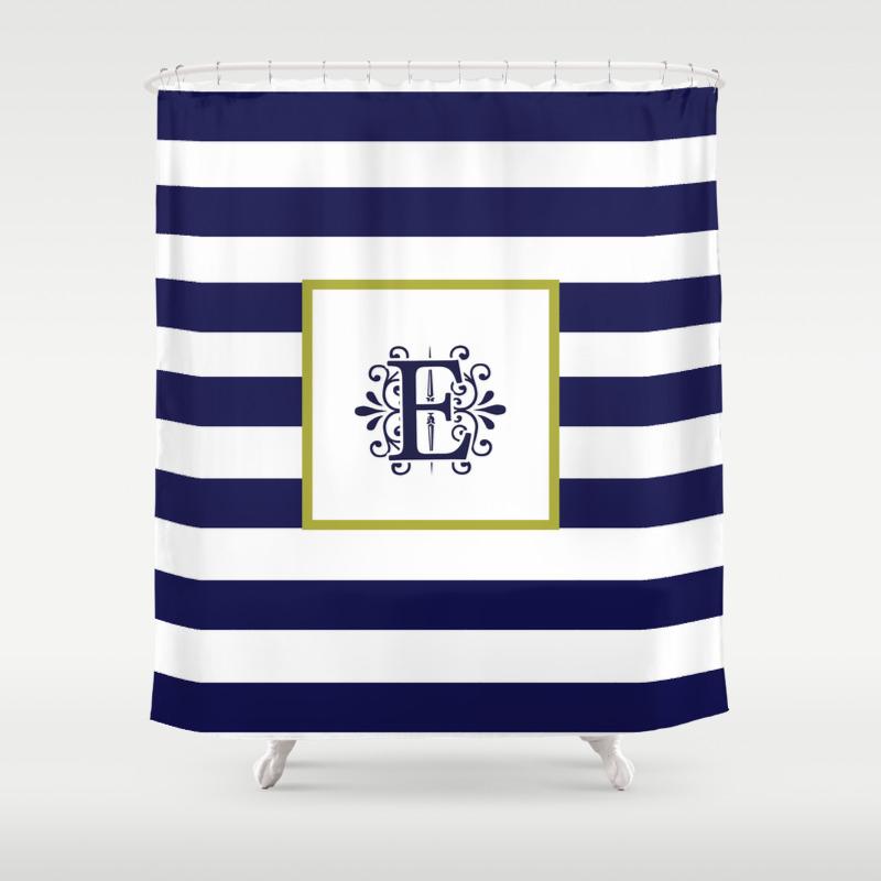 Monogram Letter E Navy Blue And White Stripes Shower Curtain