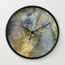 Faux gold snake skin texture on  marble Wall Clock