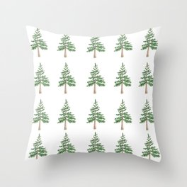 Watercolor Pine Tree Pattern Throw Pillow