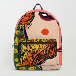 Green Portrait French Girl Art Backpack