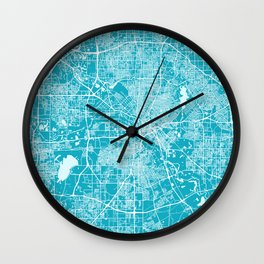 Dallas Map - Texas | Blue & Cyan | More Colors, Review My Collections Art Print Art Print Wall Clock