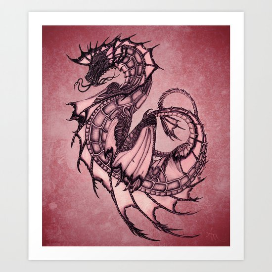"""Tsunami"" by Amber Marine ~ Sea Dragon (Ruby Version) ~ Graphite & Charcoal Illustration, (c) 2005 Art Print"