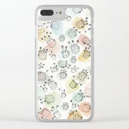 Vintage polka dot cups and flowers Clear iPhone Case