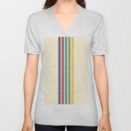 Minimal Abstract Retro Stripes 70s Style - Chacha Unisex V-Neck