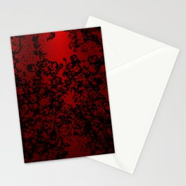 Red and black abstract decorative floral arabesque motif with metallic look Stationery Cards