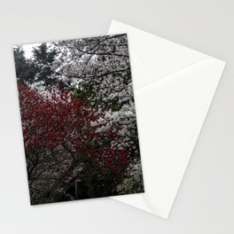 Japanese spring blossom in reds and pinks Stationery Cards