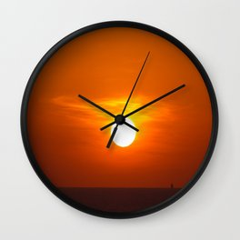 Red sunset on the sea Wall Clock