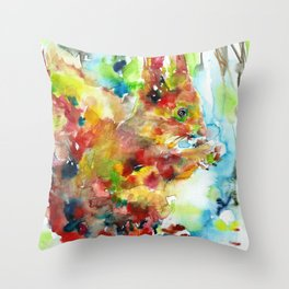 RED SQUIRREL EATING Throw Pillow