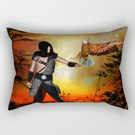 Eagle lands of the arm of the man Rectangular Pillow