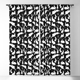 Rabbit Pattern | Rabbit Silhouettes | Bunny Rabbits | Bunnies | Hares | Black and White | Blackout Curtain