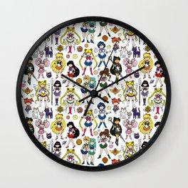 Kawaii Sailor Senshi Doodle Wall Clock
