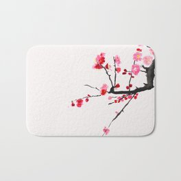 red plum flower red background Bath Mat