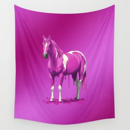Hot Pink Pinto Dripping Wet Paint Horse Wall Tapestry