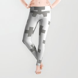 Grey Plus Sign Pattern Leggings