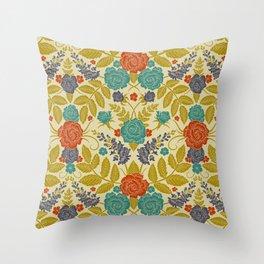 Purple, Orange, Teal & Gold Floral Pattern Throw Pillow