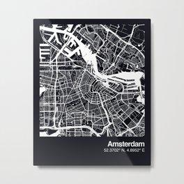 Amsterdam City Map Metal Print