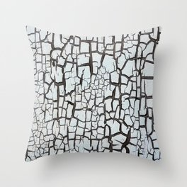 cracked white paint on wood texture pattern background Throw Pillow