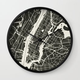 New York City Map_BLACK Wall Clock