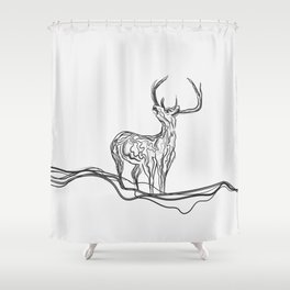 Mountain (Closer Than You Know) Lino Cut Shower Curtain