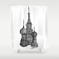 moscow Shower Curtains featuring Moscow by Coop Klassen