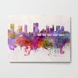 Columbus skyline in watercolor background Metal Print