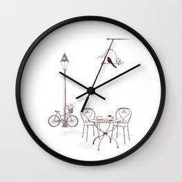 Sidewalk Cafe Humour Wall Clock